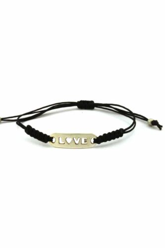 black macramé bracelet with love tag