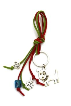 keyring with dog & evil eye