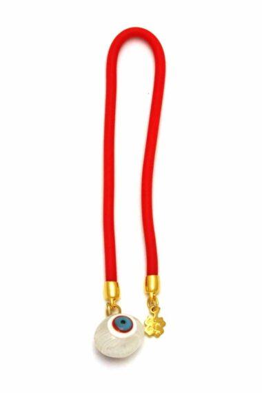 white lucky eye bead bookmark