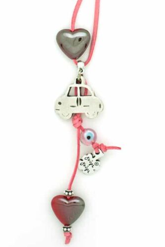 cute car charm with hearts