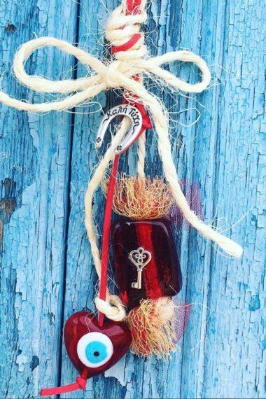 Christmas good luck charm with key & heart