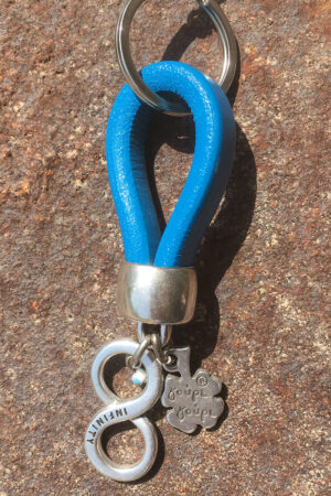 blue leather infinity keyring