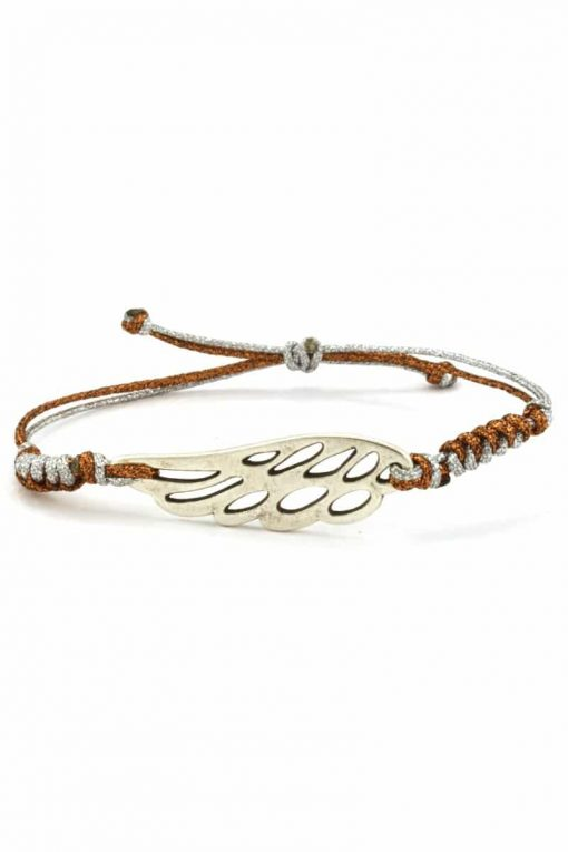 silver-plated bracelet with angel wing