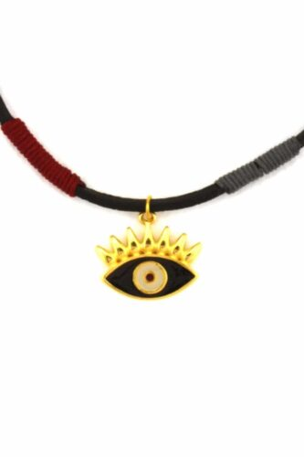 leather necklace with black evil eye
