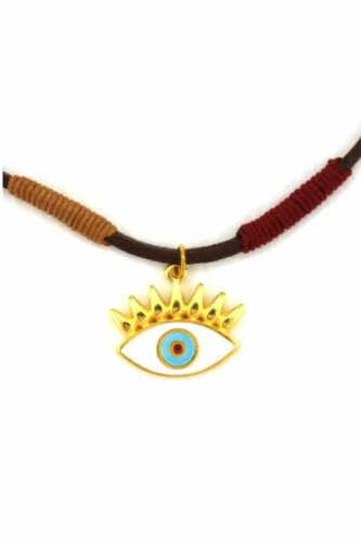 leather necklace with white evil eye