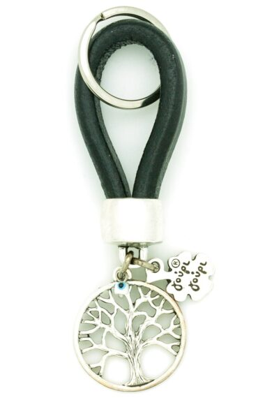 black leather keyring with tree