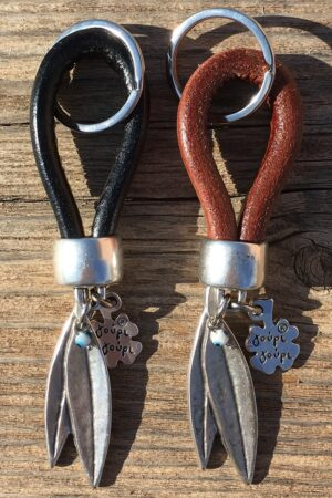 leather keyrings with olive tree leaves