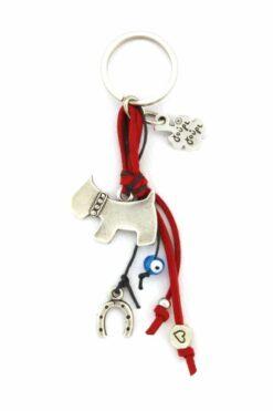 keyring with dog & horseshoe