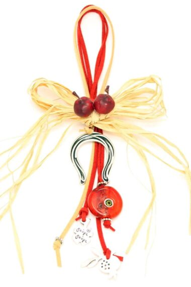 Christmas charm with horseshoe & hay