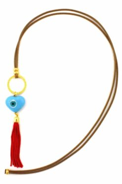 light blue evil eye necklace