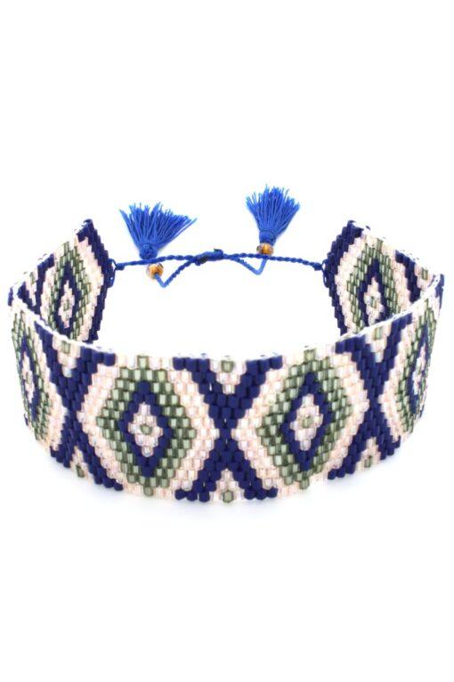 blue wide band bracelet