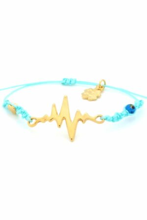 turquoise bracelet with gold-plated heartbeat