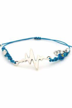blue silver-plated heartbeat bracelet