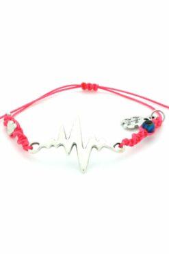 fuchsia silver-plated heartbeat bracelet