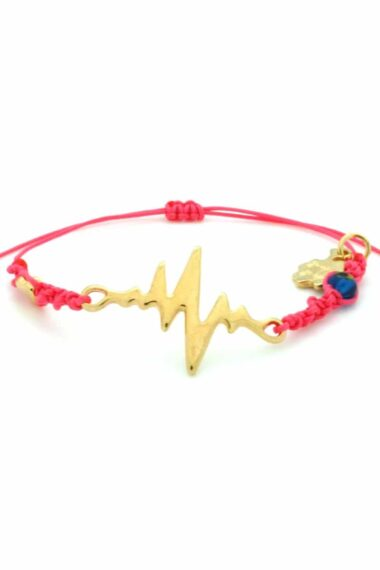 fuchsia bracelet with gold-plated heartbeat