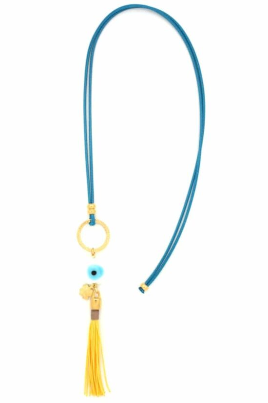 white evil eye necklace with yellow tuft