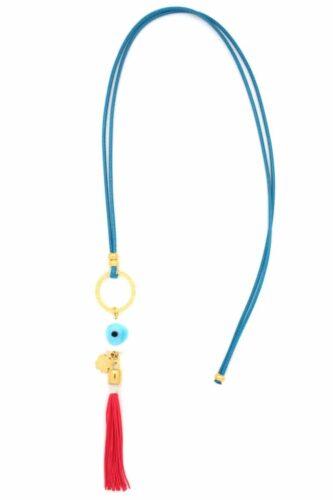 white evil eye necklace with fuchsia tuft
