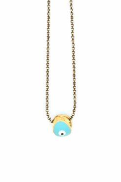 turquoise minimal evil eye necklace