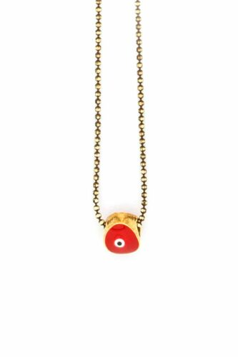 red minimal evil eye necklace