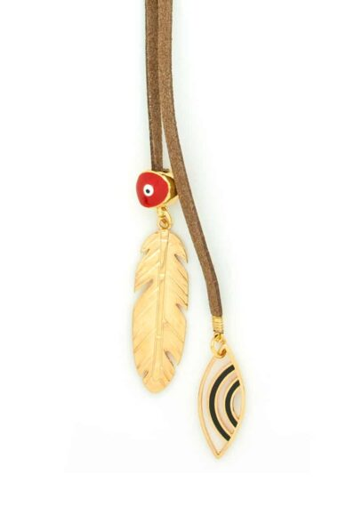 brown necklace with feather and evil eyes