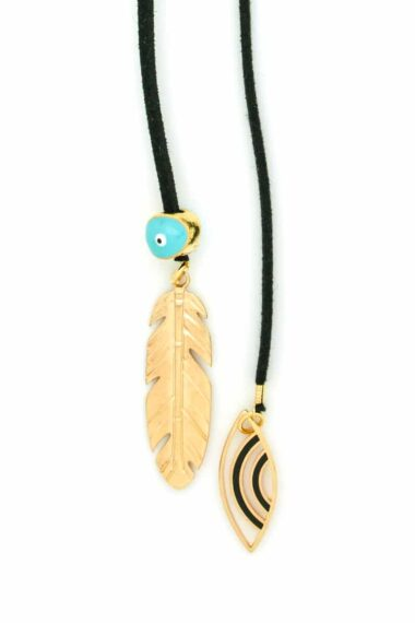 black necklace with feather and evil eyes