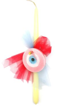 Easter candle with pink evil eye soap