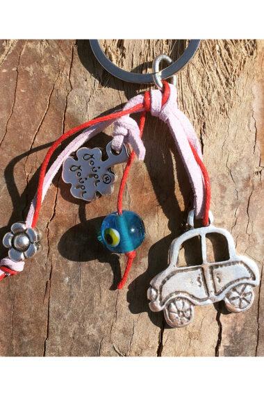 pink keyring for car keys with evil eye and flower