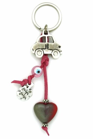 car keyring with heart and evil eye