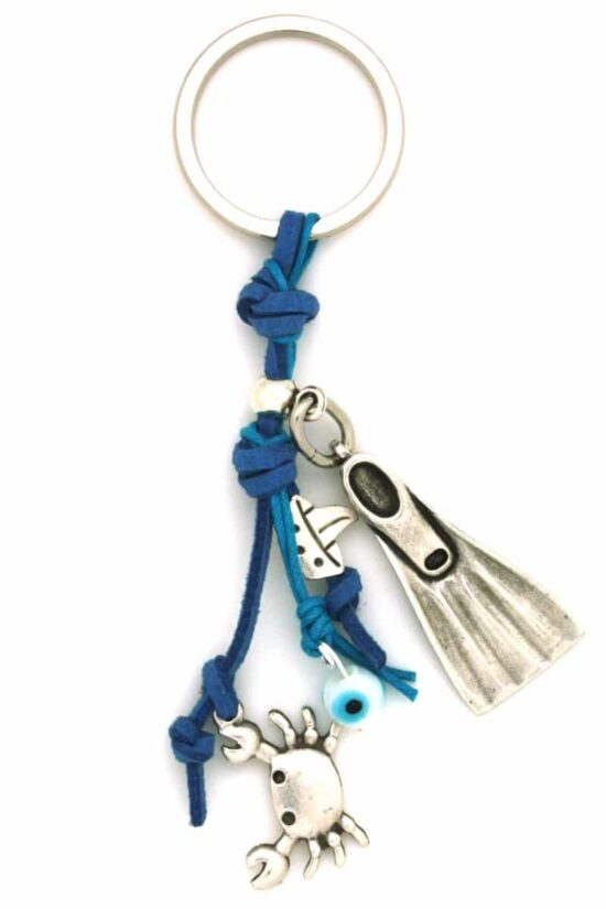 keyring with fin and crab