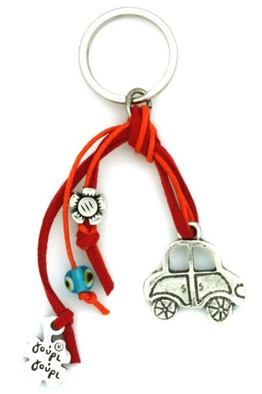 red keyring for car keys with evil eye and flower