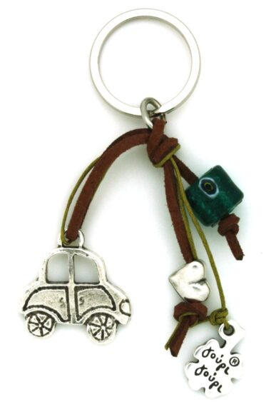 keyring for car with heart and evil eye
