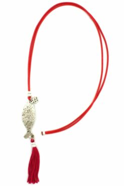 fuchsia necklace with wrought fish