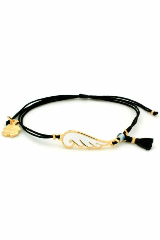 angel wing bracelet in black