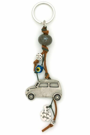car keyring with large bead and evil eye