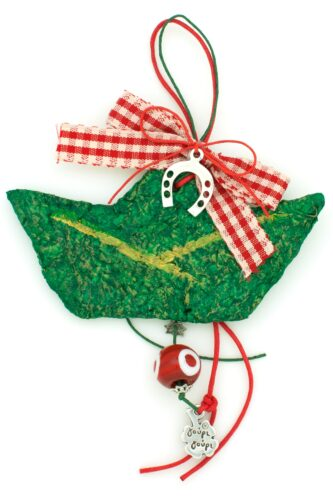 Christmas charm with green boat