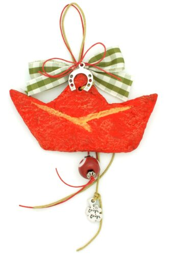 Christmas charm with red boat