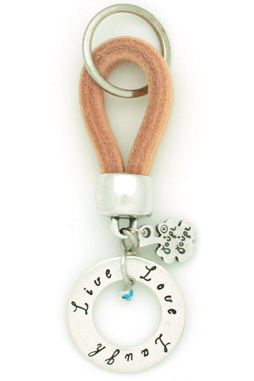 beige live-love-laugh leather keyring