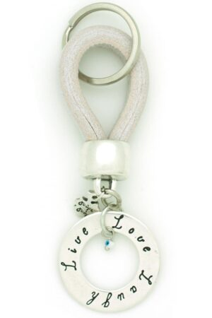 white live-love-laugh leather keyring