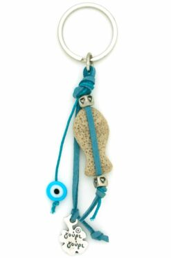 keyring with fish and evil eye