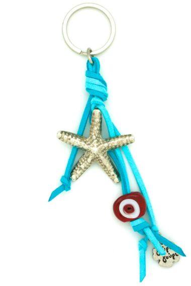 keyring with starfish and evil eye