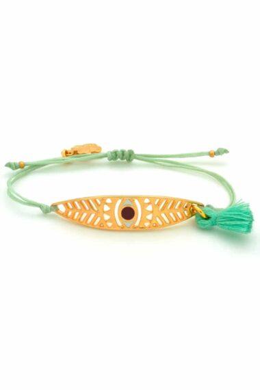 lime green bracelet with leaf