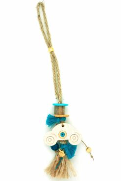rear-view mirror charm with blue tufts