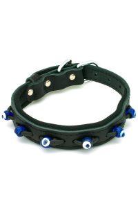 black dog collar with evil eyes