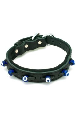 black dog collar with evil eyes