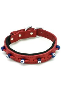 red dog collar with evil eyes