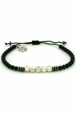 men's bracelet with silver-plated beads