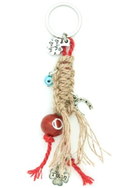macramé keyring with evil eyes