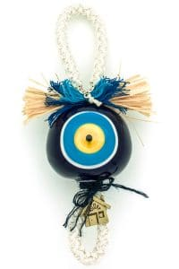 good luck charm with large blue evil eye