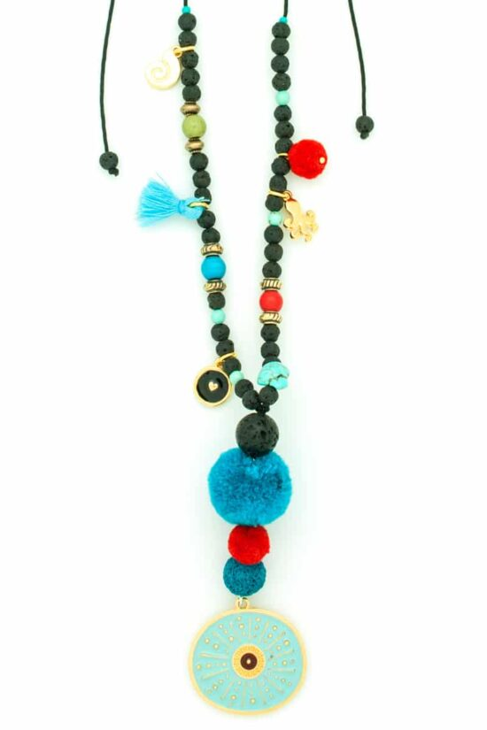 turquoise sea urchin long necklace