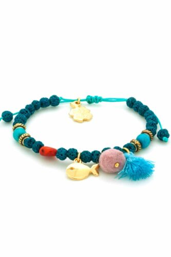 turquoise lava bracelet with gold-plated fish